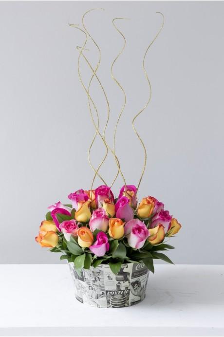 Laton Portamatero Rosas y Arabescos