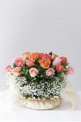 Canasto Forrado en Tela Gipso Rosa 3 Colores Clasico