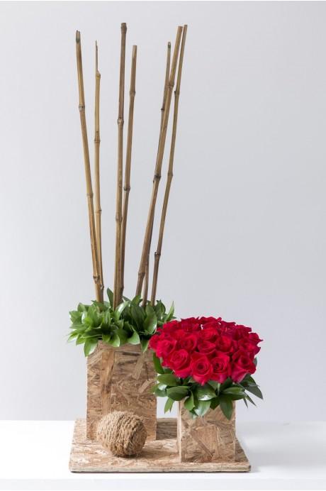 Individual Corcho 2 Torres Rosa y Bambu
